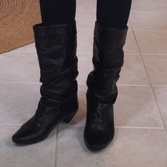 Aldo Black Leather Slouch Boots Size 4